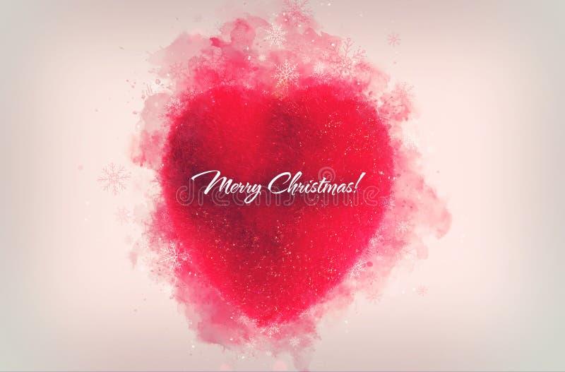 Διακοσμητικός κόκκινη διακόσμηση καρδιών για τα Χριστούγεννα ή το νέο έτος tre στοκ εικόνα με δικαίωμα ελεύθερης χρήσης