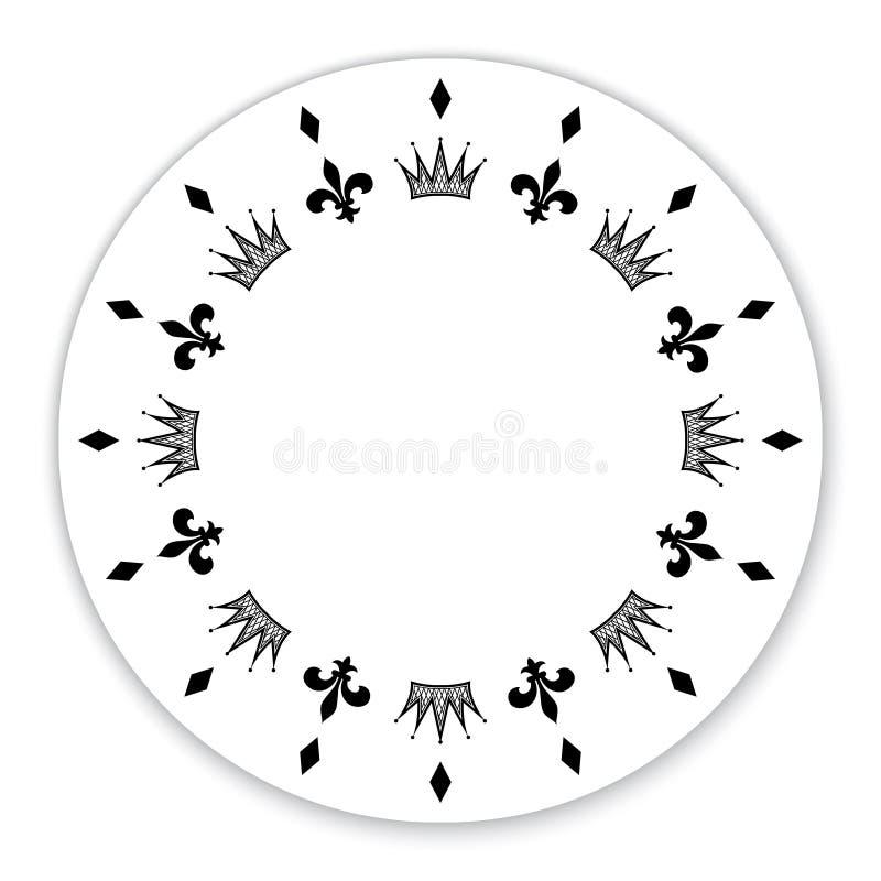 Διακοσμητικός κύκλος που διακοσμείται με τα σύμβολα, κορώνες διανυσματική απεικόνιση