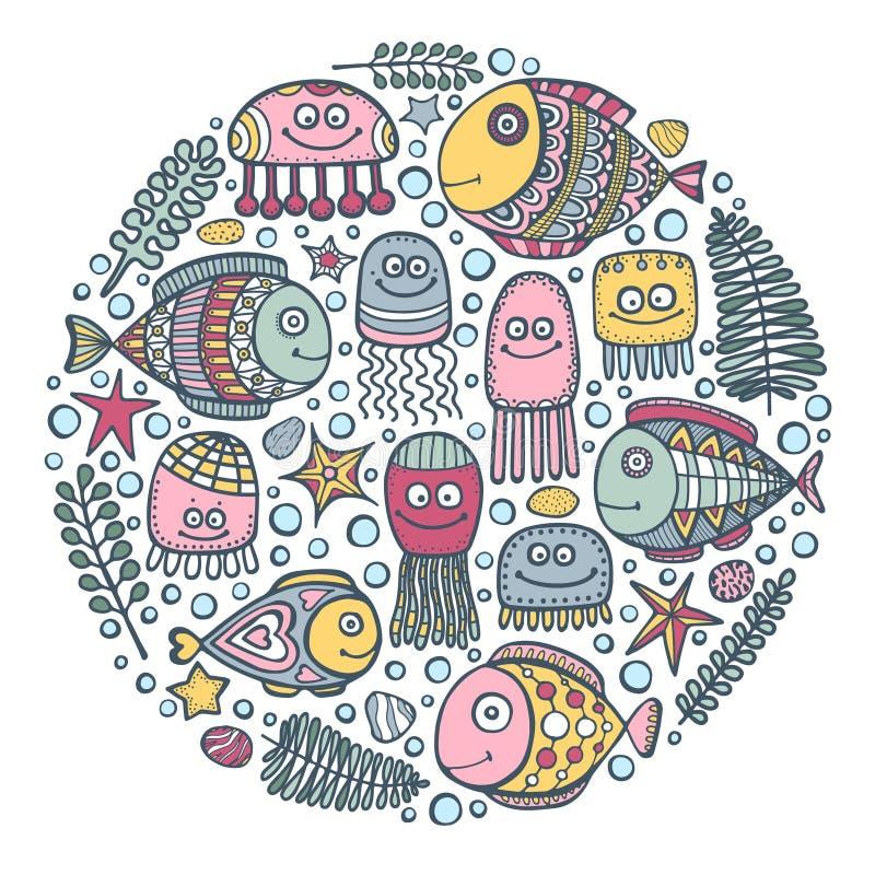 Διακοσμητικός κύκλος ψαριών διανυσματική απεικόνιση