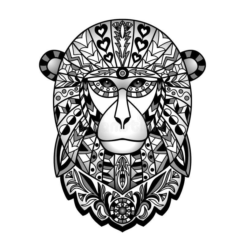 Διακοσμητικός μαύρος πίθηκος απεικόνιση αποθεμάτων