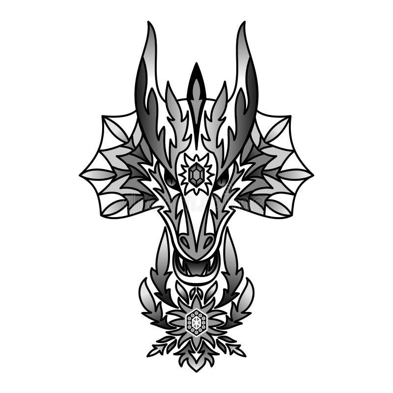 Διακοσμητικός μαύρος δράκος απεικόνιση αποθεμάτων