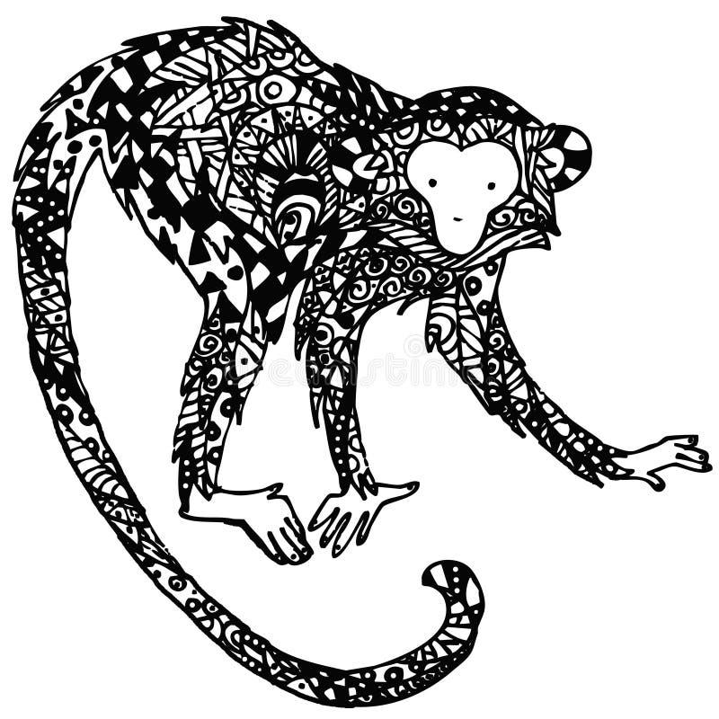 Διακοσμητικός πίθηκος Γραφικός πίθηκος απεικόνισης χειροποίητος πίθηκος απεικόνισης τέχνης διανυσματική απεικόνιση