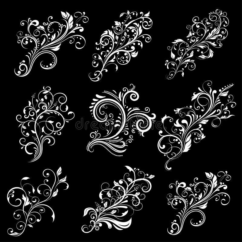 διακοσμητικός floral κρίνος σ& Άσπρα σχέδια στο μαύρο υπόβαθρο απεικόνιση αποθεμάτων