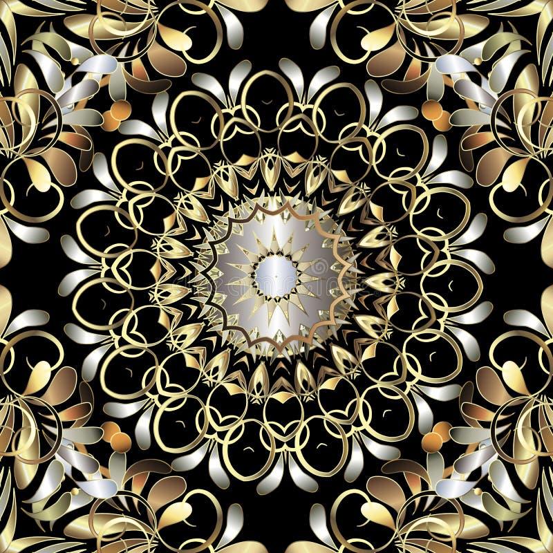 Διακοσμητικό άνευ ραφής διανυσματικό σχέδιο mandala του Paisley Εκλεκτής ποιότητας floral επαναλαμβάνει το υπόβαθρο Τρισδιάστατα  ελεύθερη απεικόνιση δικαιώματος