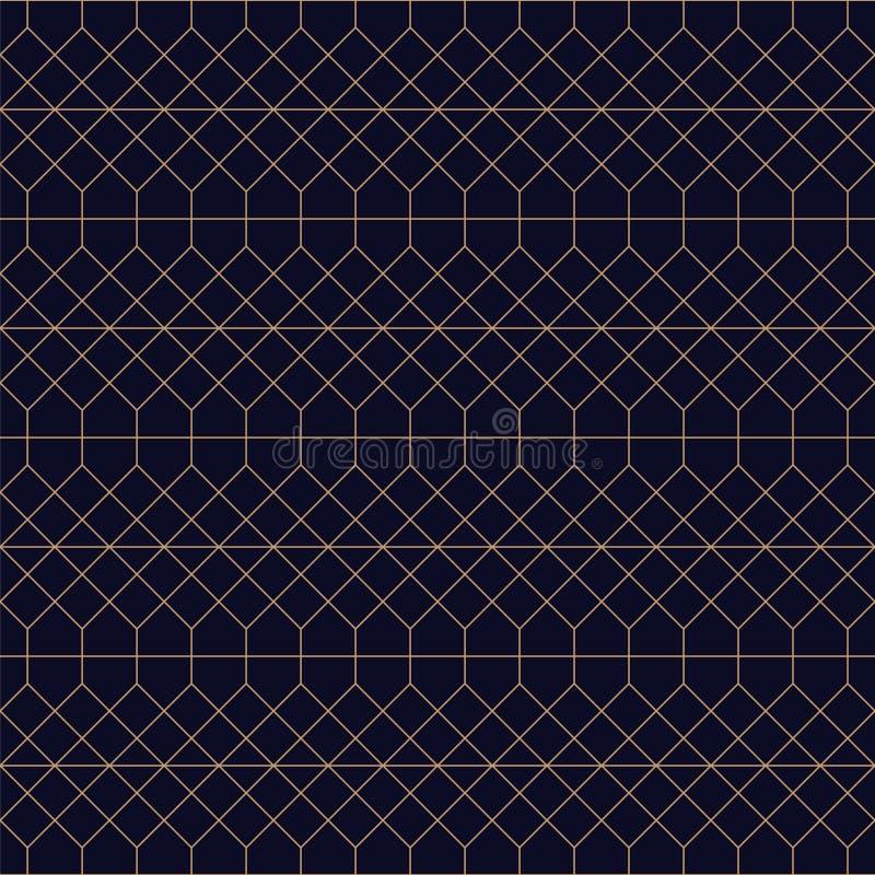 Διακοσμητικό άνευ ραφής μπλε υπόβαθρο Επαναλαμβανόμενο χρυσό σχέδιο πλέγματος - κομψό επαναλαμβανόμενο σχέδιο Πλούσια διακοσμητικ απεικόνιση αποθεμάτων