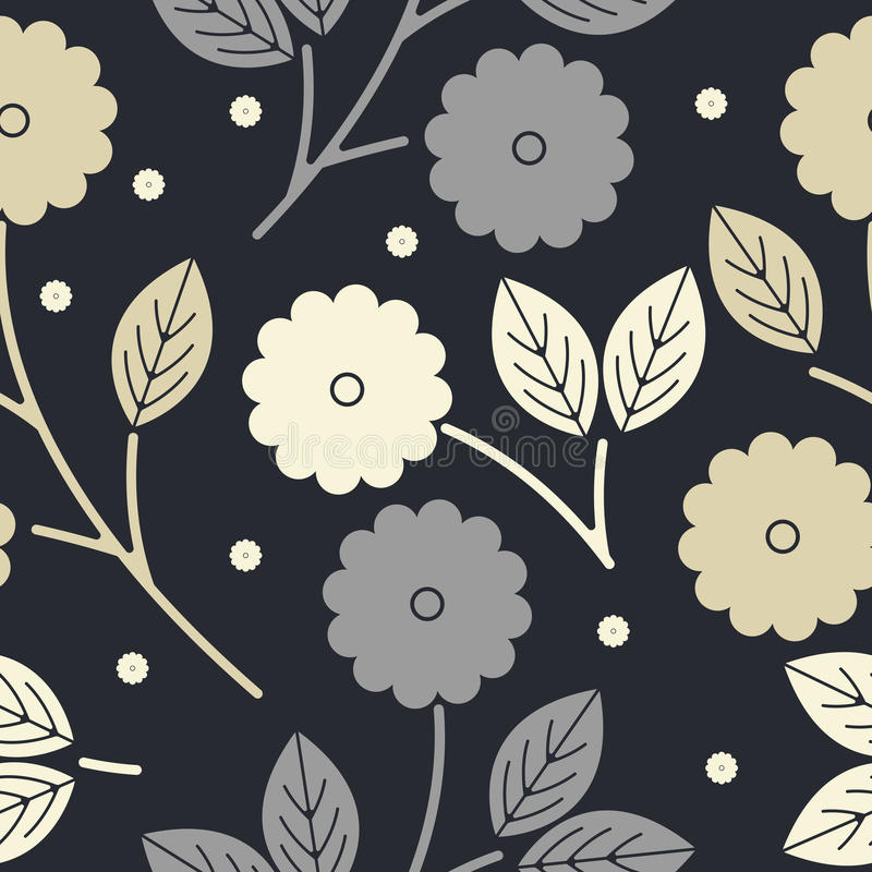 Διακοσμητικό άνευ ραφής σχέδιο με τα λουλούδια και τα φύλλα απεικόνιση αποθεμάτων
