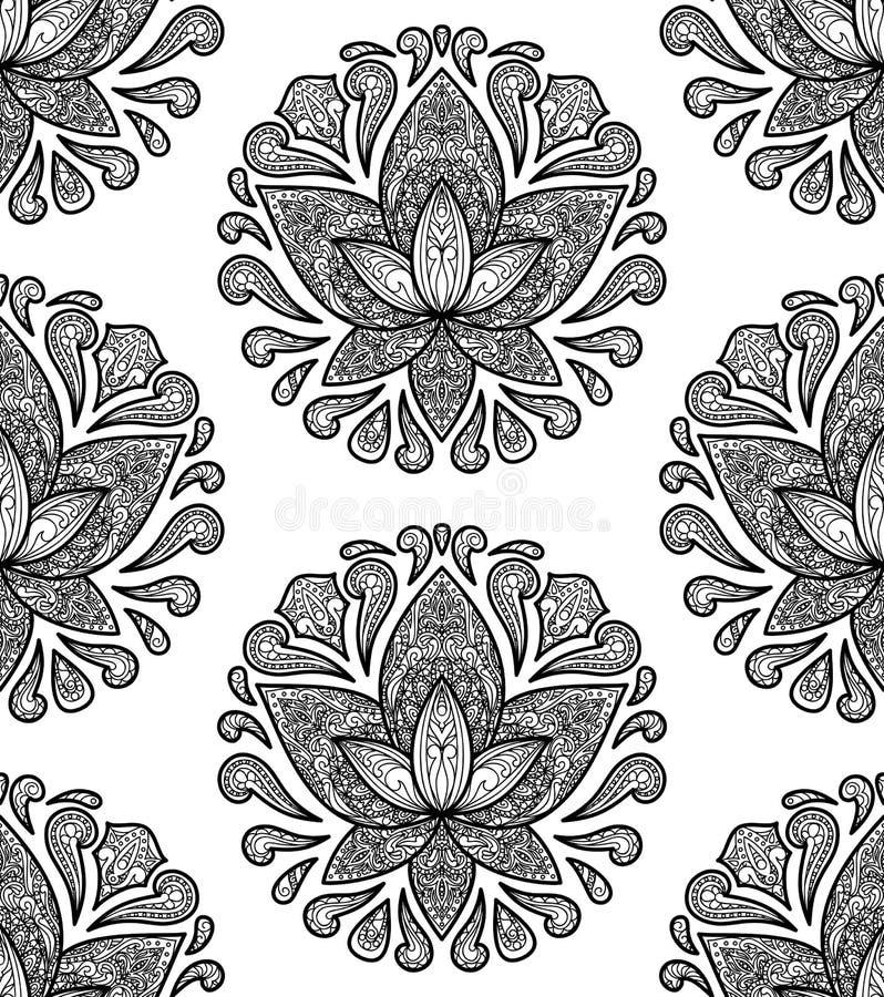 Διακοσμητικό άνευ ραφής σχέδιο Lotus ελεύθερη απεικόνιση δικαιώματος
