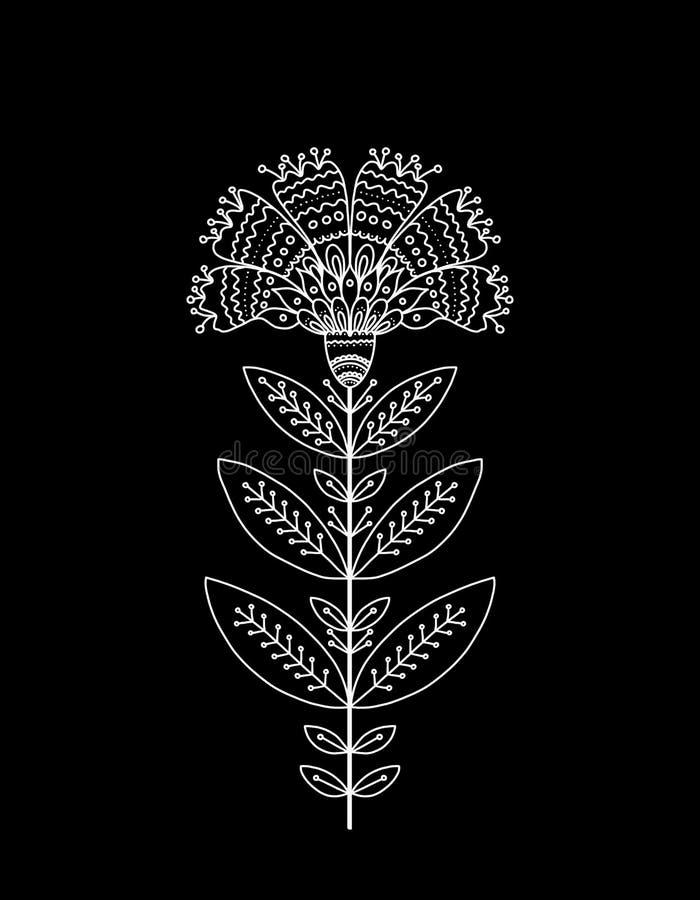 Διακοσμητικό άσπρο λουλούδι στο μαύρο υπόβαθρο ελεύθερη απεικόνιση δικαιώματος