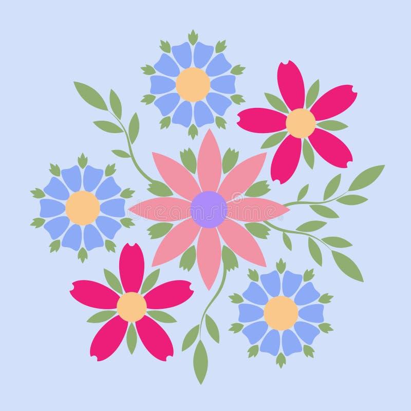 Διακοσμητικό έμβλημα της πολύχρωμης ελεύθερης σύνθεσης λουλουδιών Επιχειρησιακή ταυτότητα για για τη μπουτίκ, τα οργανικό καλλυντ απεικόνιση αποθεμάτων