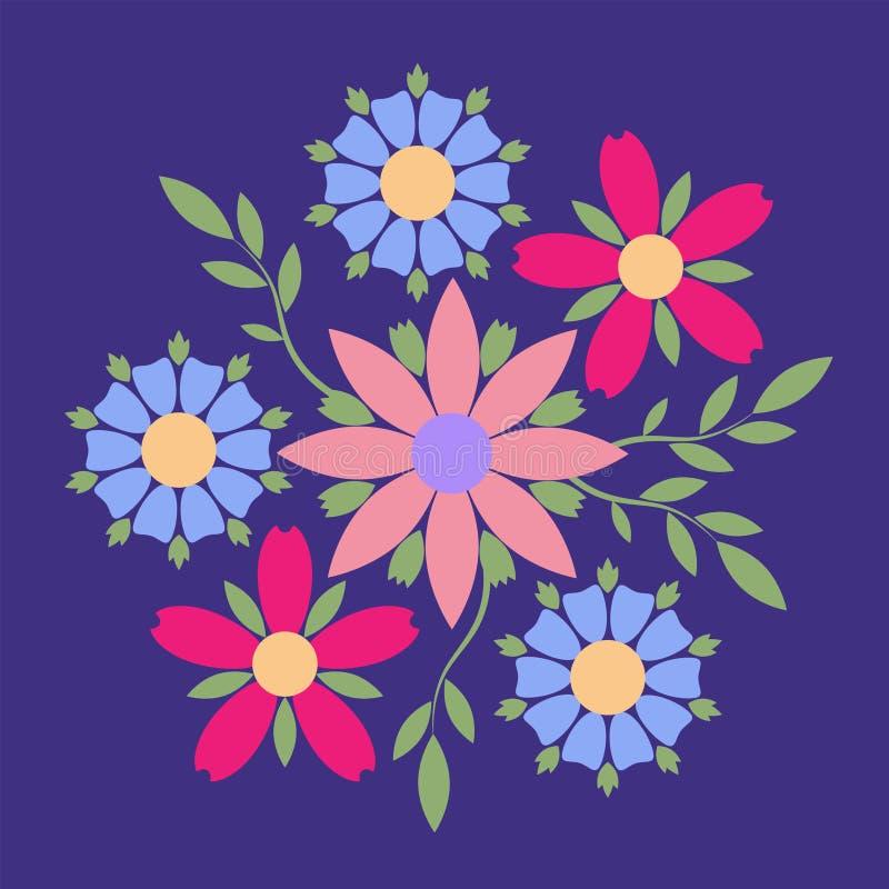 Διακοσμητικό έμβλημα της πολύχρωμης ελεύθερης σύνθεσης λουλουδιών Επιχειρησιακή ταυτότητα για για τη μπουτίκ, τα οργανικό καλλυντ διανυσματική απεικόνιση