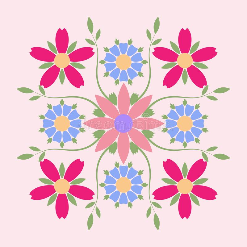 Διακοσμητικό έμβλημα της πολύχρωμης συμμετρικής σύνθεσης λουλουδιών Επιχειρησιακή ταυτότητα για για τη μπουτίκ, τα οργανικό καλλυ ελεύθερη απεικόνιση δικαιώματος