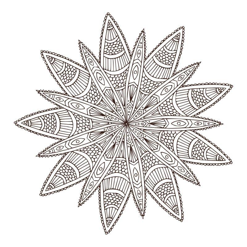 Διακοσμητικό γεωμετρικό Mandala Σχέδιο τέχνης δερματοστιξιών λουλουδιών Σχέδιο διακοσμήσεων ταπήτων Διάνυσμα για την ενήλικη χρωμ διανυσματική απεικόνιση