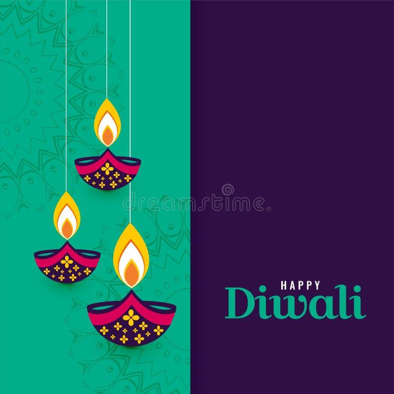 Διακοσμητικό ευτυχές υπόβαθρο λαμπτήρων diya diwali απεικόνιση αποθεμάτων