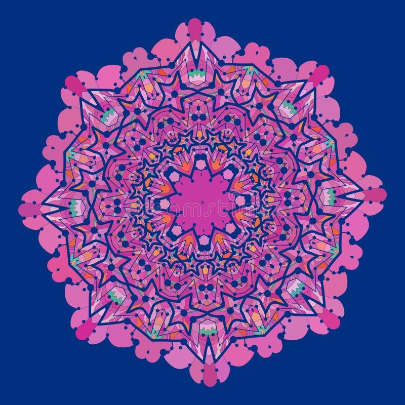 Διακοσμητικό ζωηρόχρωμο διανυσματικό mandala της βιολέτας και ελεύθερη απεικόνιση δικαιώματος