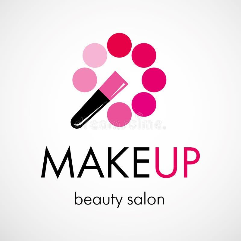 Διακοσμητικό καλλυντικό, makeup, σαλόνι ομορφιάς, διανυσματικό πρότυπο σχεδίου λογότυπων στιλίστων ελεύθερη απεικόνιση δικαιώματος