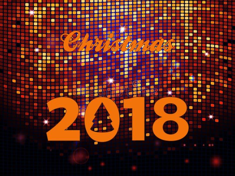 Διακοσμητικό κείμενο Χριστουγέννων 2018 με το αφηρημένο δέντρο πέρα από το χρυσό καμμένος υπόβαθρο κεραμιδιών τοίχων Disco απεικόνιση αποθεμάτων