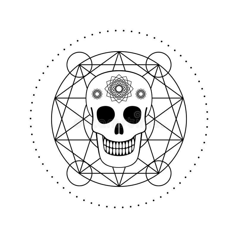 Διακοσμητικό κρανίο με το γεωμετρικό σύμβολο ελεύθερη απεικόνιση δικαιώματος
