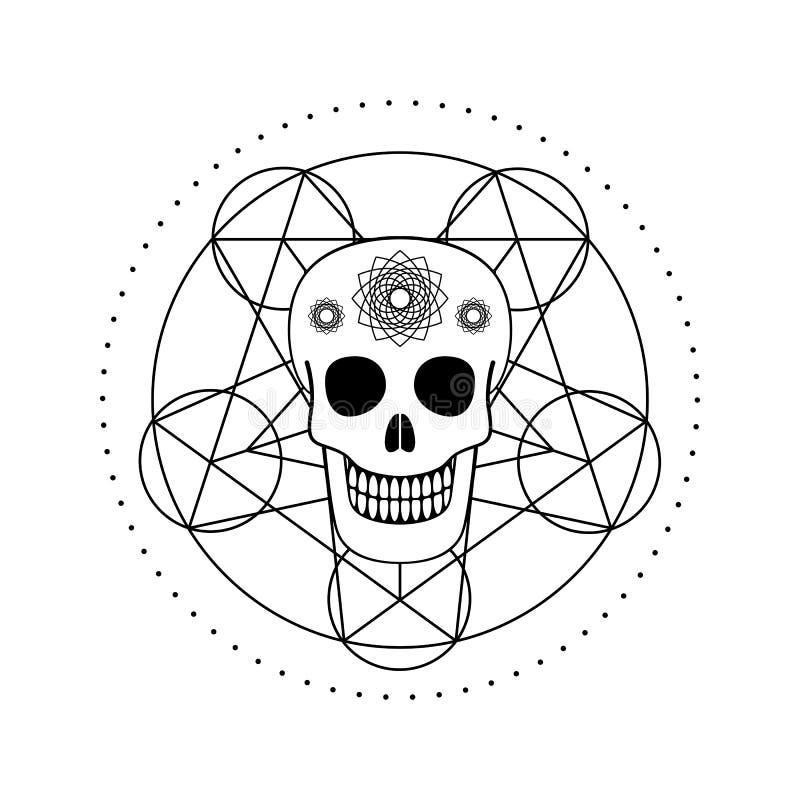 Διακοσμητικό κρανίο με το γεωμετρικό σύμβολο διανυσματική απεικόνιση