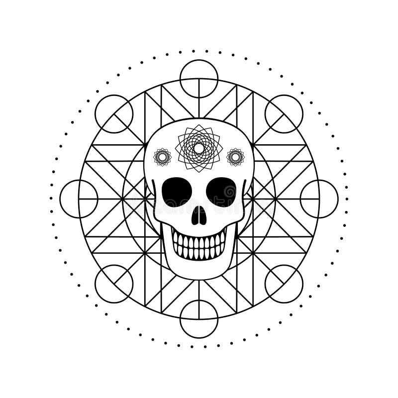Διακοσμητικό κρανίο με το γεωμετρικό σύμβολο απεικόνιση αποθεμάτων