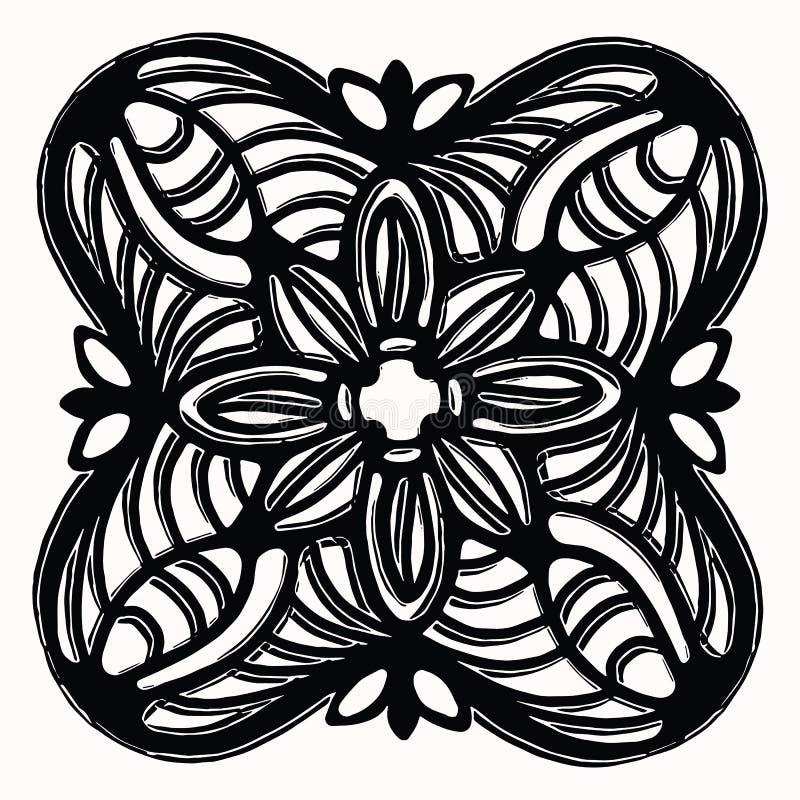 Διακοσμητικό λαϊκό στοιχείο σχεδίου τέχνης γραφικό Συρμένο χέρι linocut ύφος τυπωμένων υλών φραγμών Μαύρο φολκλορικό κεραμίδι τέχ ελεύθερη απεικόνιση δικαιώματος