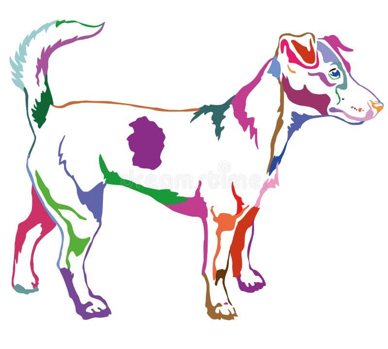Διακοσμητικό μόνιμο πορτρέτο του διανύσματος τεριέ του Jack Russell σκυλιών διανυσματική απεικόνιση