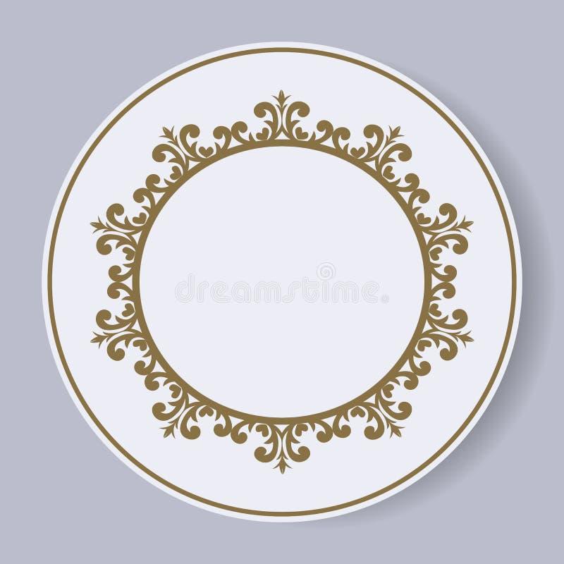 Διακοσμητικό πιάτο με ένα κυκλικό σχέδιο πρόσκληση συγχαρητηρίων καρτών ανασκόπησης Vecto διανυσματική απεικόνιση