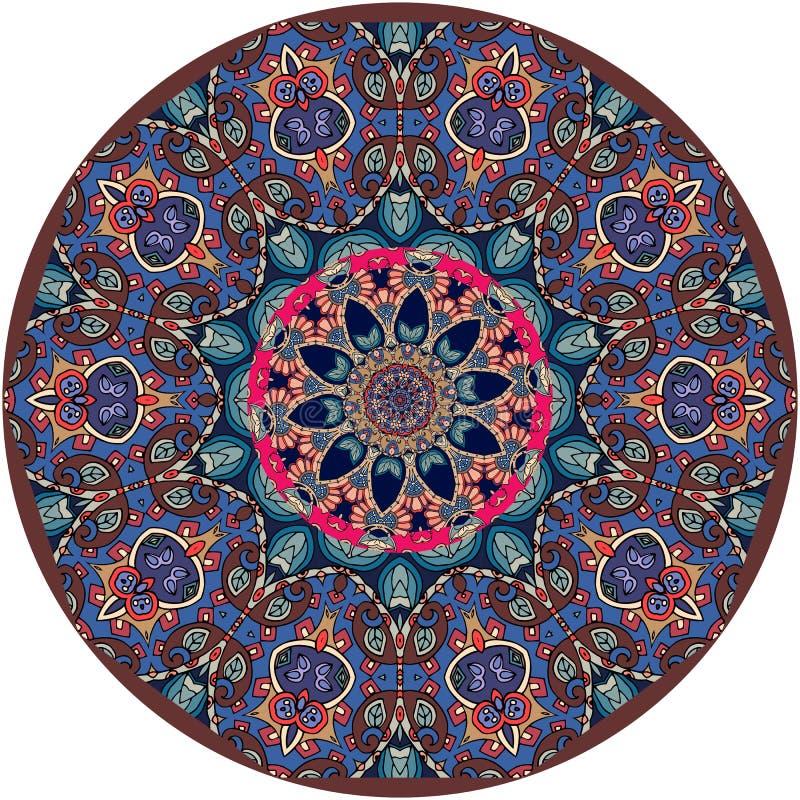 Διακοσμητικό πιάτο με την όμορφη διακόσμηση με το mandala διανυσματική απεικόνιση
