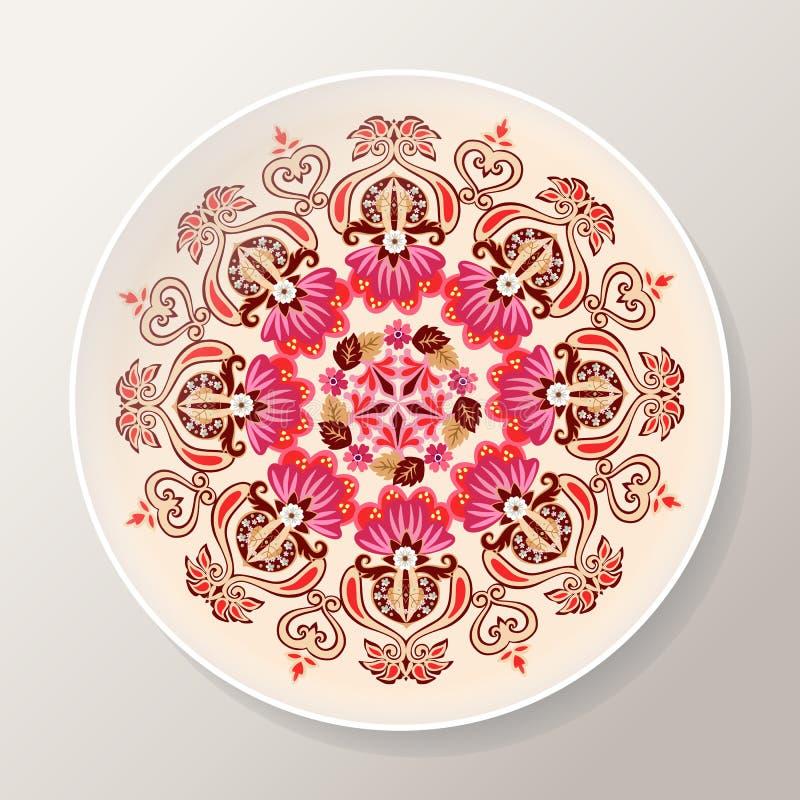 Διακοσμητικό πιάτο με το φωτεινό floral mandala Ζωηρόχρωμη στρογγυλή διακόσμηση επίσης corel σύρετε το διάνυσμα απεικόνισης ελεύθερη απεικόνιση δικαιώματος