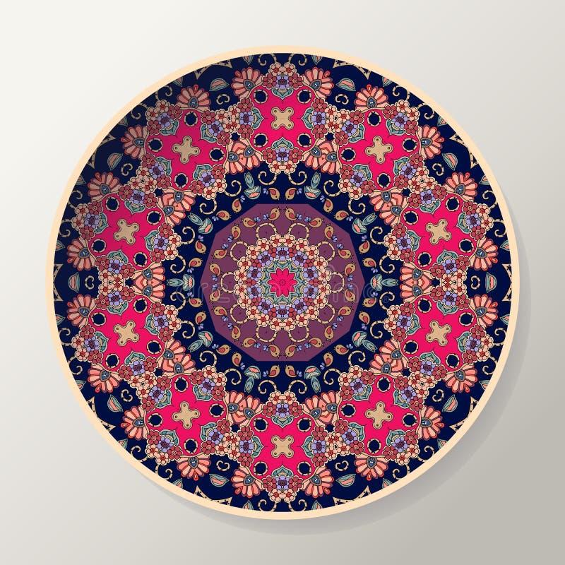 Διακοσμητικό πιάτο με το όμορφο mandala Στρογγυλό διακοσμητικό σχέδιο στο εθνικό ύφος ελεύθερη απεικόνιση δικαιώματος