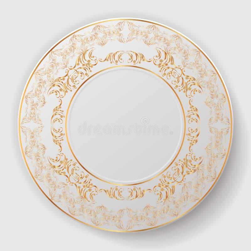 Διακοσμητικό πιάτο που διακοσμείται με τη χρυσή διακόσμηση απεικόνιση αποθεμάτων
