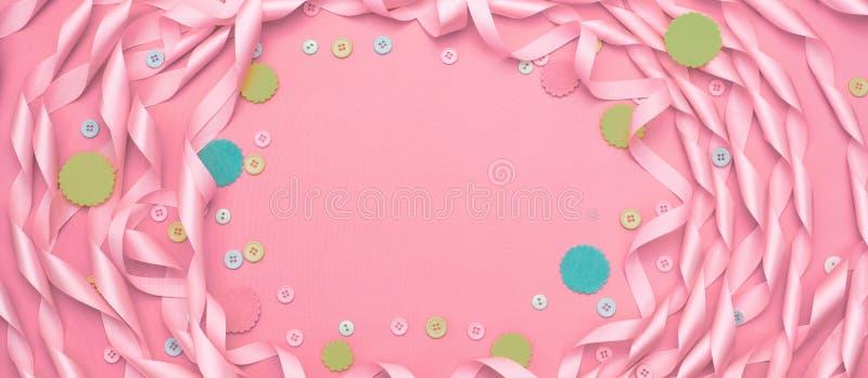 Διακοσμητικό πλαίσιο υποβάθρου εμβλημάτων φιαγμένο από κορδέλλες σατέν απεικόνιση αποθεμάτων