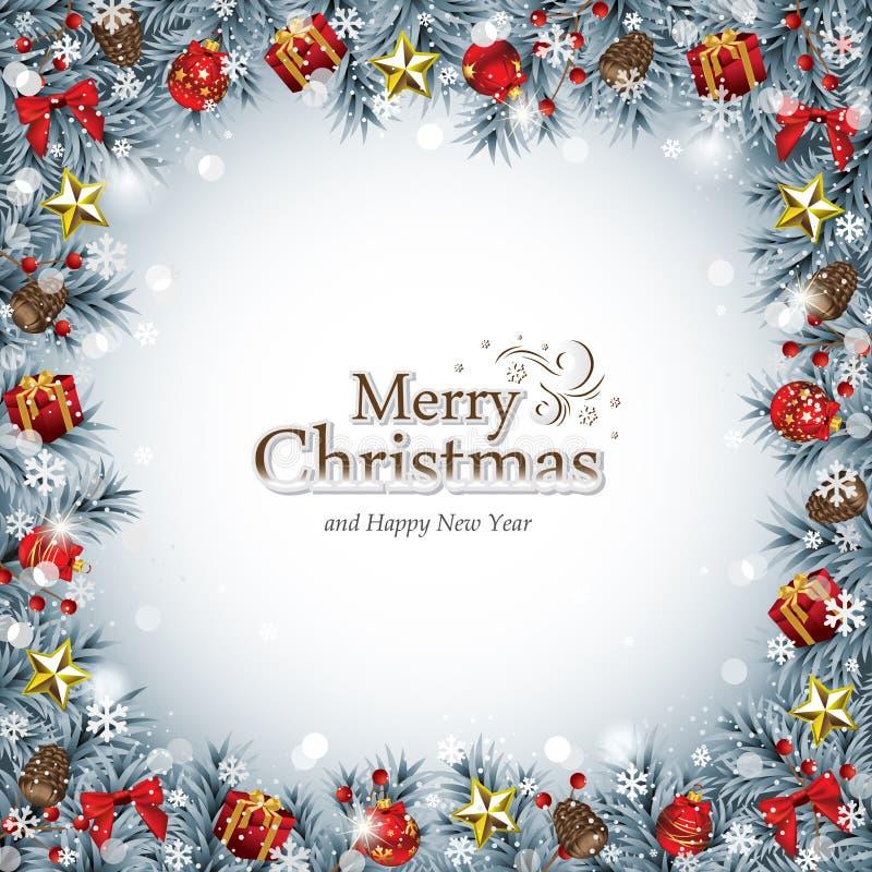 Διακοσμητικό πλαίσιο Χριστουγέννων στο μπλε ελεύθερη απεικόνιση δικαιώματος
