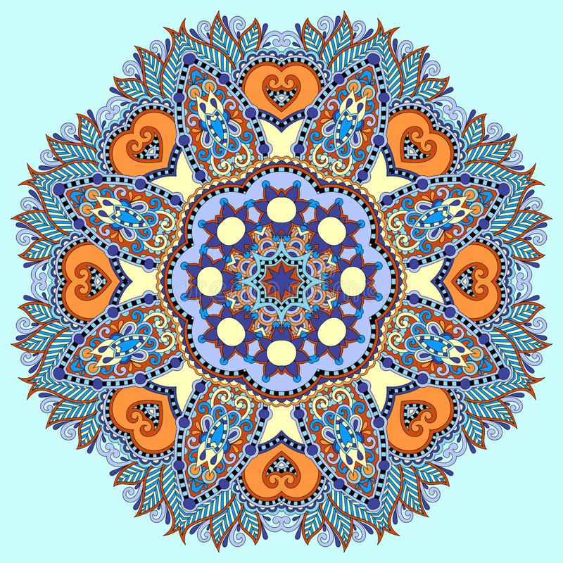 Διακοσμητικό πνευματικό ινδικό σύμβολο κύκλων του λωτού διανυσματική απεικόνιση