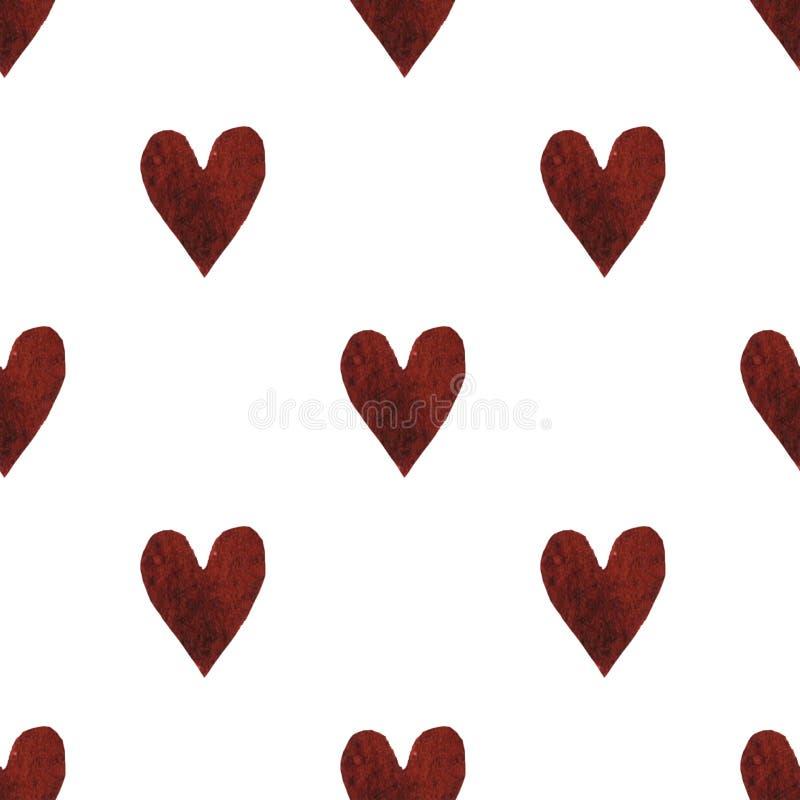 διακοσμητικό πρότυπο άνευ ραφής Επανάληψη του υποβάθρου με τις καρδιές watercolor Valentine' σχέδιο ημέρας του s απεικόνιση αποθεμάτων