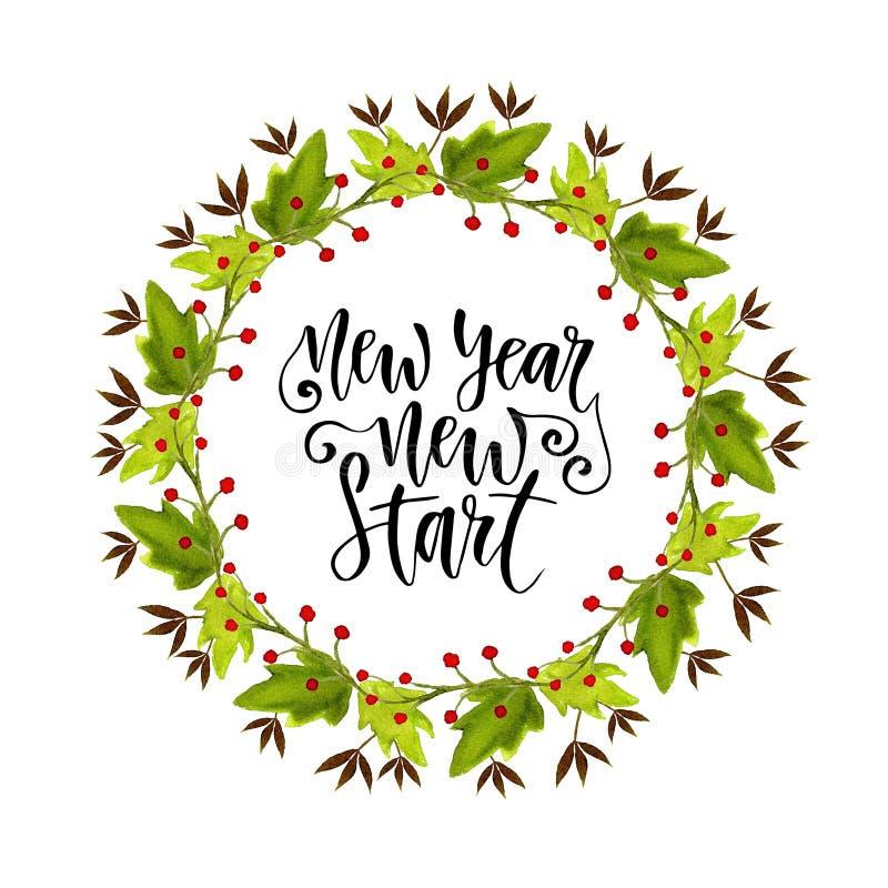 Διακοσμητικό πλαίσιο στεφανιών Watercolor Για την πρόσκληση και τη ευχετήρια κάρτα Νέα νέα έναρξη έτους Εμπνευσμένο και κινητήριο ελεύθερη απεικόνιση δικαιώματος
