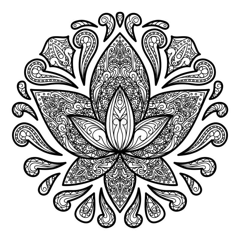Διακοσμητικό σημάδι δερματοστιξιών Lotus διανυσματική απεικόνιση