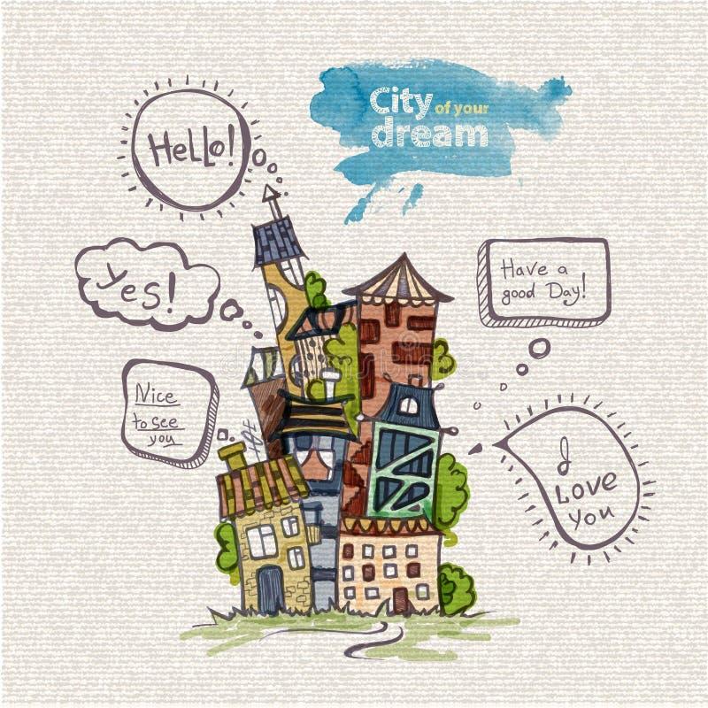 Διακοσμητικό σκίτσο της πόλης απεικόνιση αποθεμάτων
