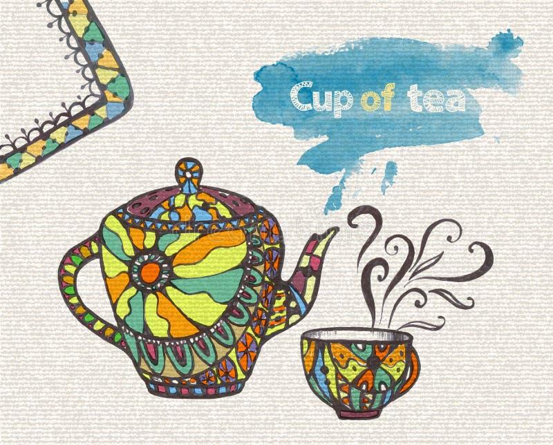 Διακοσμητικό σκίτσο του φλυτζανιού και teapot διανυσματική απεικόνιση