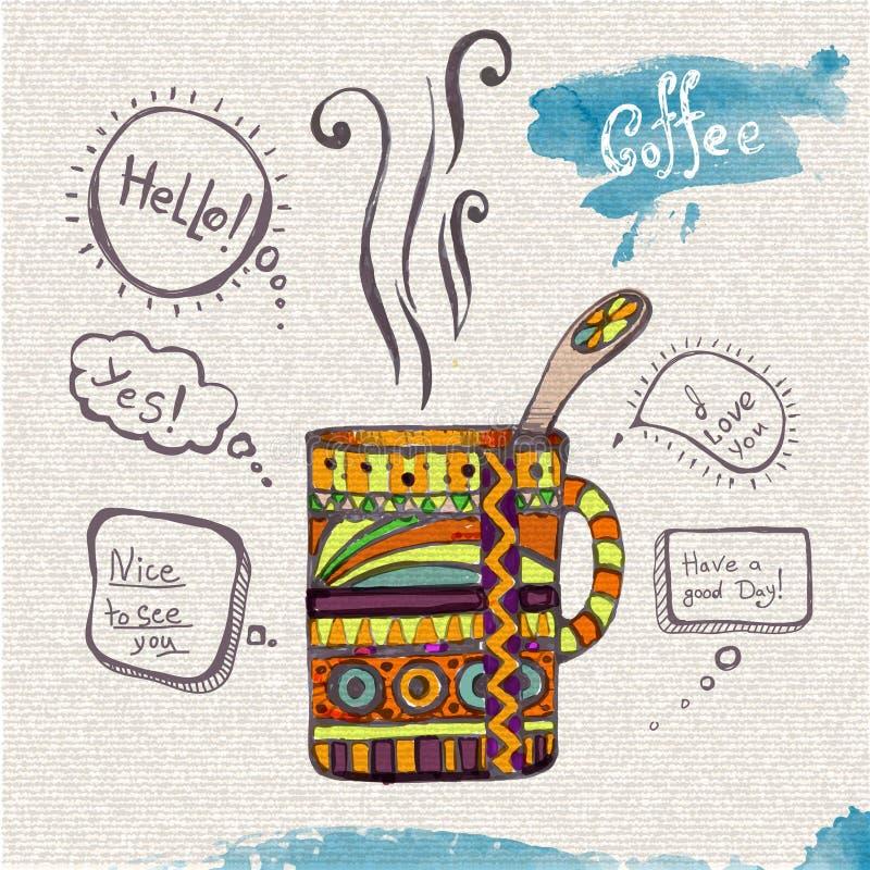 Διακοσμητικό σκίτσο του φλυτζανιού διανυσματική απεικόνιση