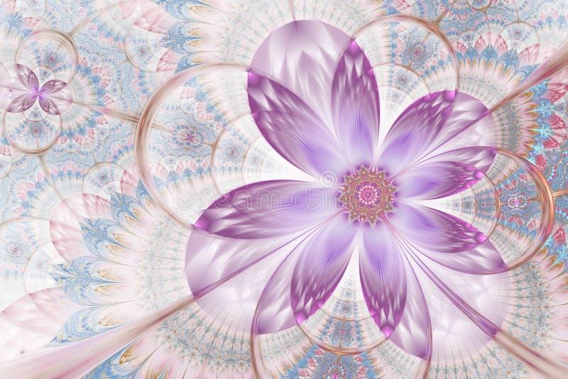 Διακοσμητικό στιλπνό ψηφιακό έργο τέχνης λουλουδιών γραφικό διανυσματική απεικόνιση
