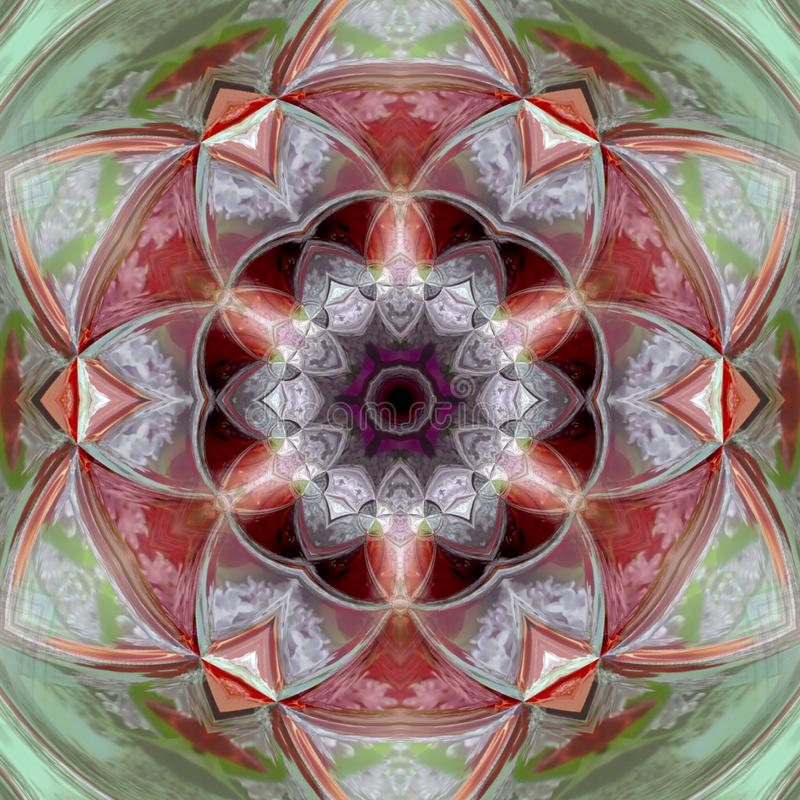 Διακοσμητικό στρογγυλό πράσινο σχέδιο Ζωηρόχρωμα εκλεκτής ποιότητας στοιχεία Mandala διακοσμήσεων απεικόνιση αποθεμάτων