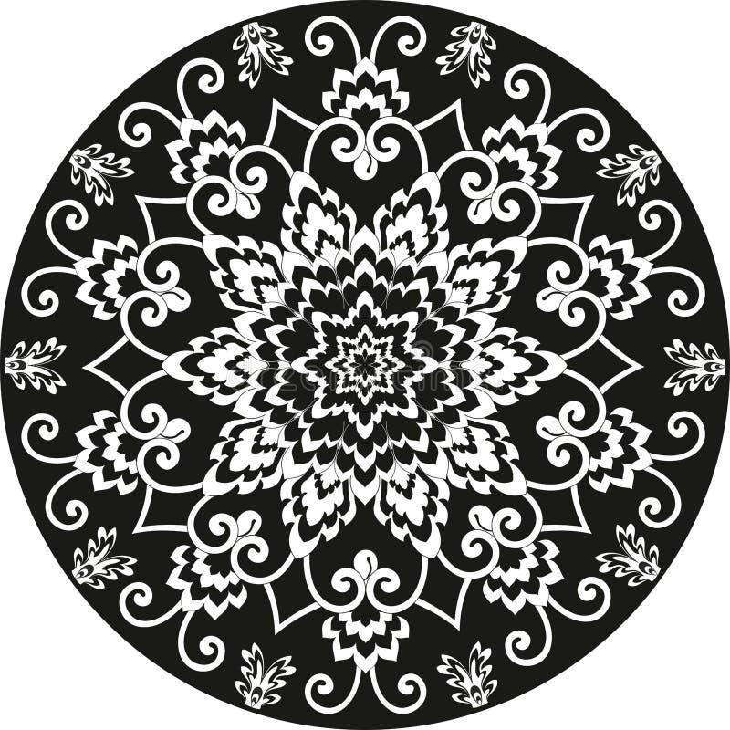 Διακοσμητικό στρογγυλό floral σχέδιο γραπτό διανυσματική απεικόνιση