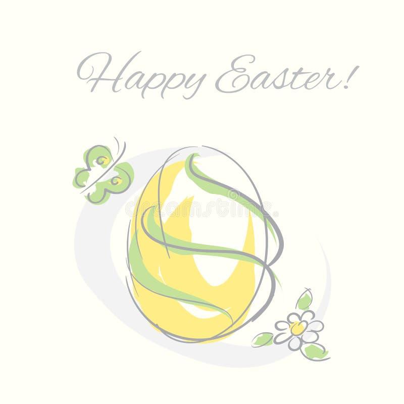 Διακοσμητικό συρμένο χέρι αυγό Πάσχας με την απεικόνιση πεταλούδων και λουλουδιών στοκ εικόνα με δικαίωμα ελεύθερης χρήσης