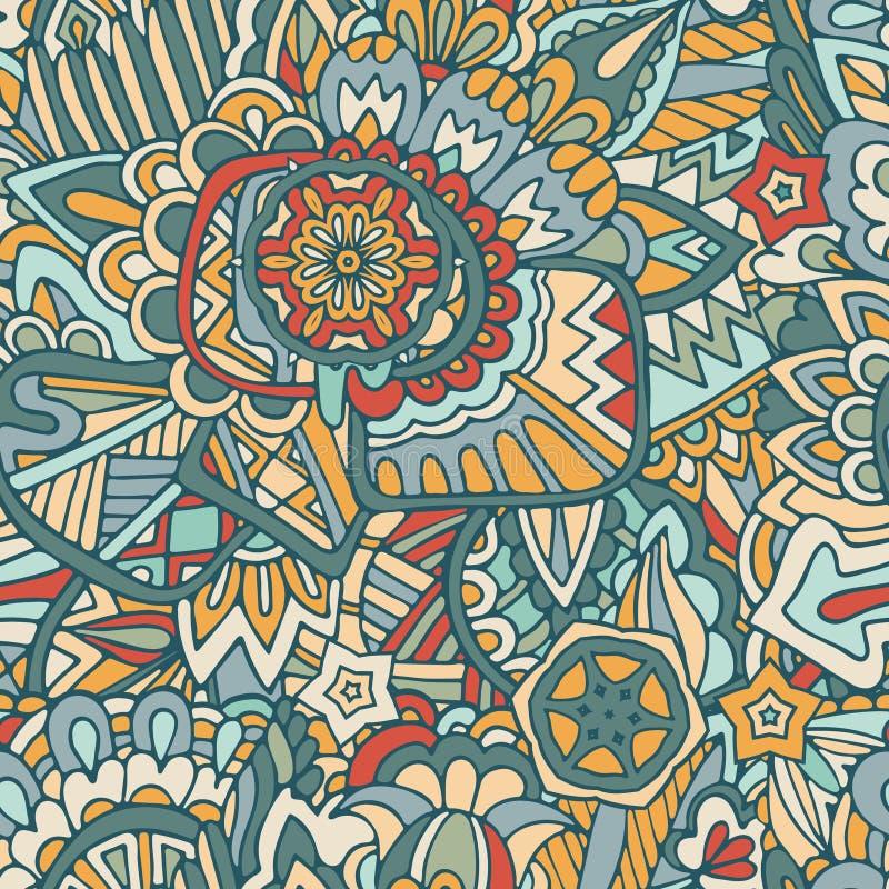 Διακοσμητικό συρμένο χέρι doodle διακοσμητικό σγουρό διανυσματικό άνευ ραφής σχέδιο απεικόνιση αποθεμάτων