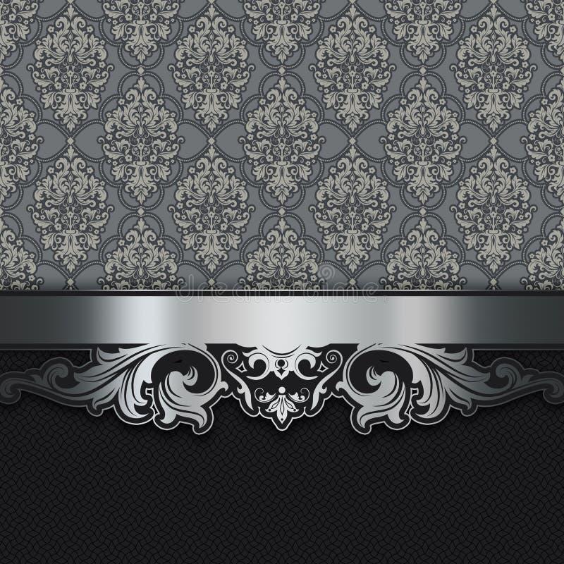 Διακοσμητικό υπόβαθρο με τα εκλεκτής ποιότητας σχέδια και τα ασημένια σύνορα απεικόνιση αποθεμάτων