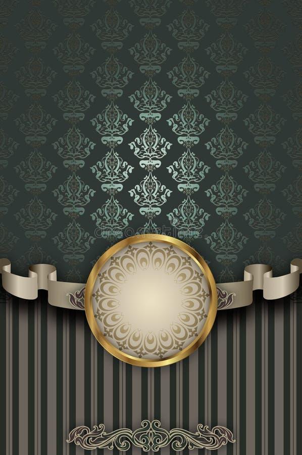 Διακοσμητικό υπόβαθρο με τα εκλεκτής ποιότητας σχέδια και την κορδέλλα ελεύθερη απεικόνιση δικαιώματος