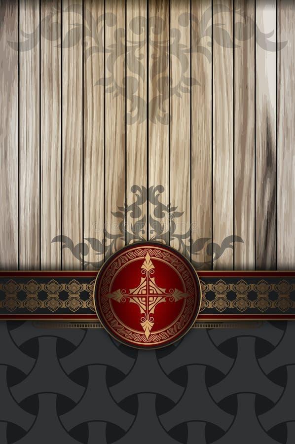 Διακοσμητικό υπόβαθρο με τις ξύλινες σανίδες και τα εκλεκτής ποιότητας σχέδια απεικόνιση αποθεμάτων