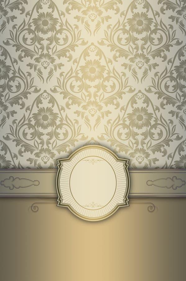 Διακοσμητικό υπόβαθρο με το κομψό πλαίσιο και τα floral σχέδια ελεύθερη απεικόνιση δικαιώματος