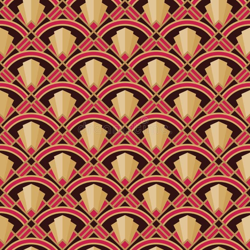 Διακοσμητικό υπόβαθρο Nouveau τέχνης Αφηρημένο γεωμετρικό άνευ ραφής σχέδιο r : Εκλεκτής ποιότητας αναδρομικός γραφικός ελεύθερη απεικόνιση δικαιώματος