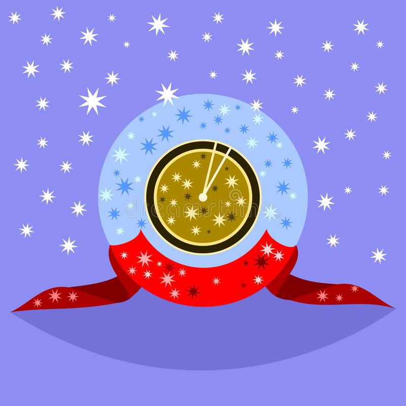 Διακοσμητικό χρυσό ρολόι φαντασίας που παρουσιάζει αμέσως μετά από το μεσημέρι ή τα μεσάνυχτα διανυσματική απεικόνιση
